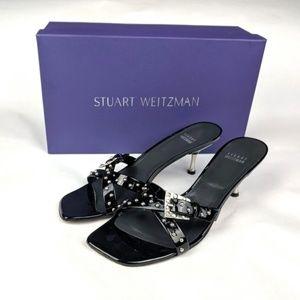 STUART WEITZMAN Black Patent Kitten Heel Sandals
